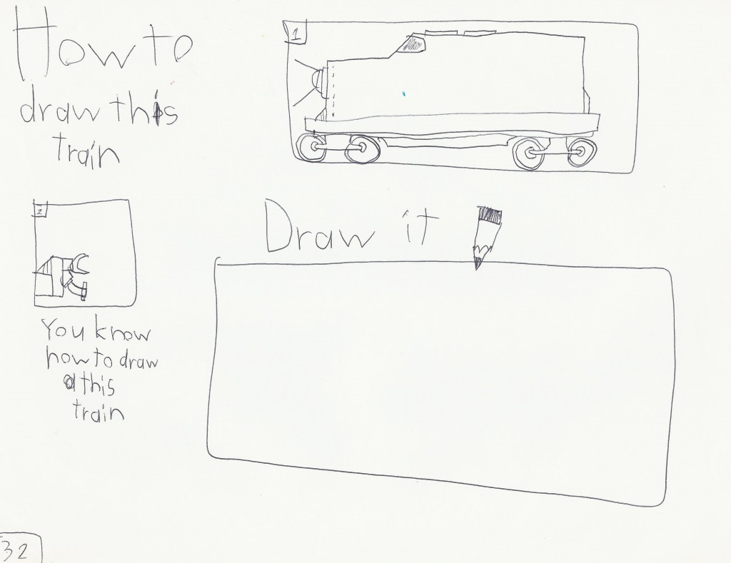 "Builder son's ""How to Draw a Train Book"" similar to his ""My Math Trick Book."""
